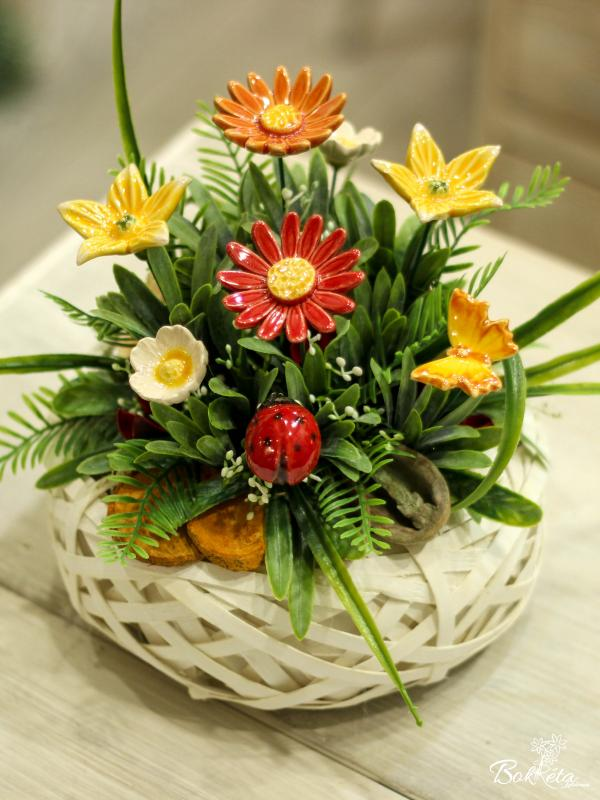 Ceramic flower: Little Basket - Flower meadow