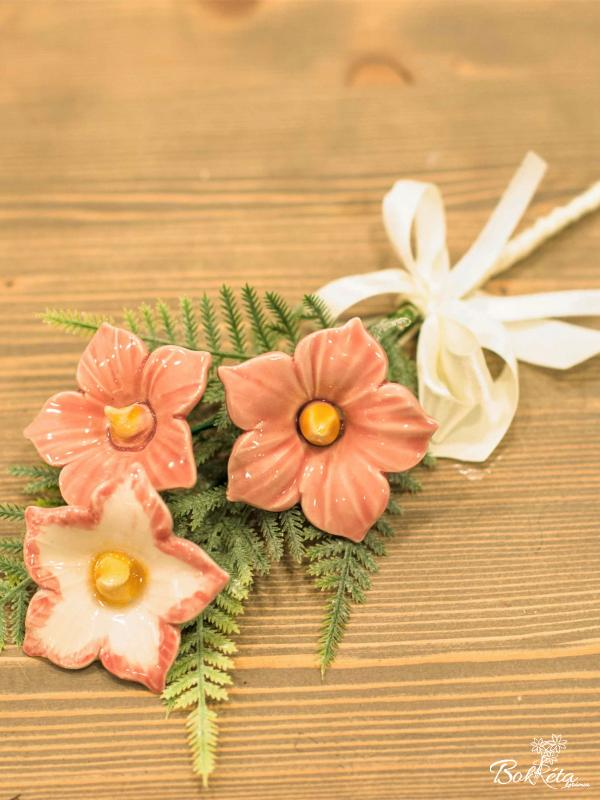 Ceramic flower: Mini Bouquet - Pink Mallow