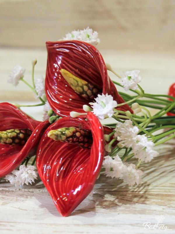 Ceramic flower: Mini Bouquet - Red Calla