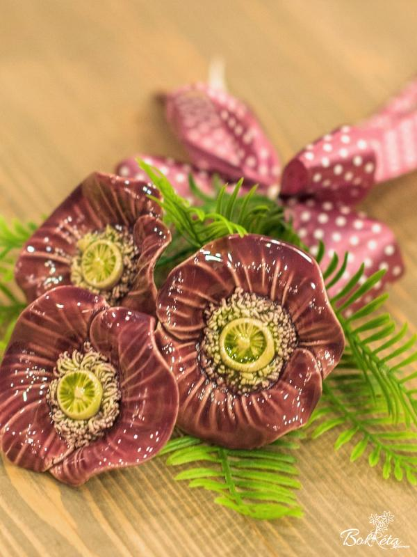 Ceramic flower: Mini Bouquet - Purple Windflower