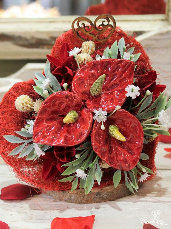 Ceramic flower: Little Bouquet Heart - Red Flamingo Flower