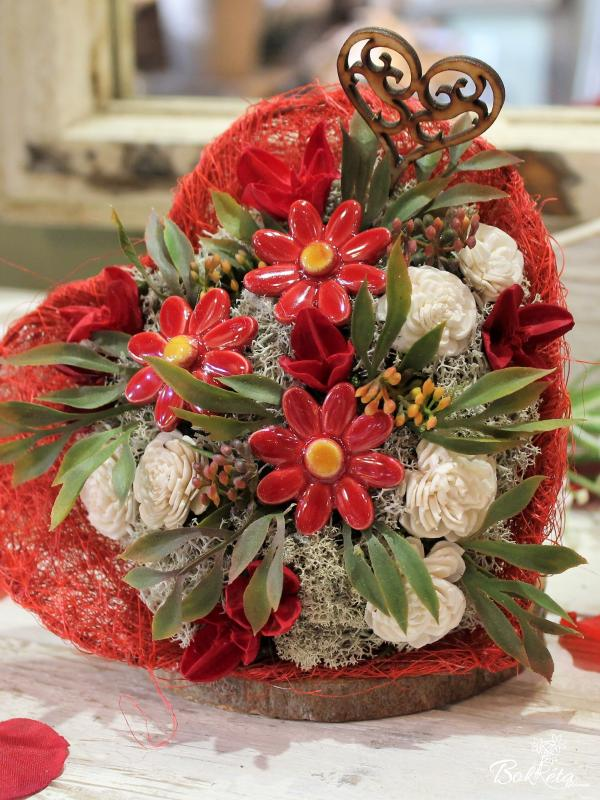Ceramic flower: Little Bouquet Heart - Red Little Daisy