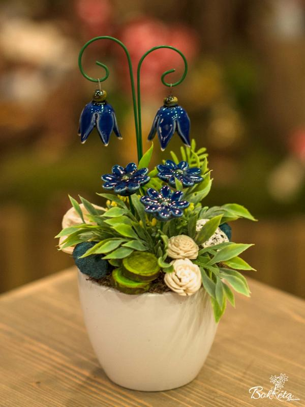 Ceramic flower: Mini Centerpiece - Blue Heather