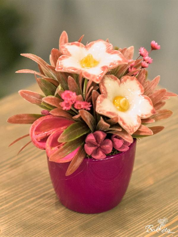 Ceramic flower: Mini Centerpiece - Mottled Mallow
