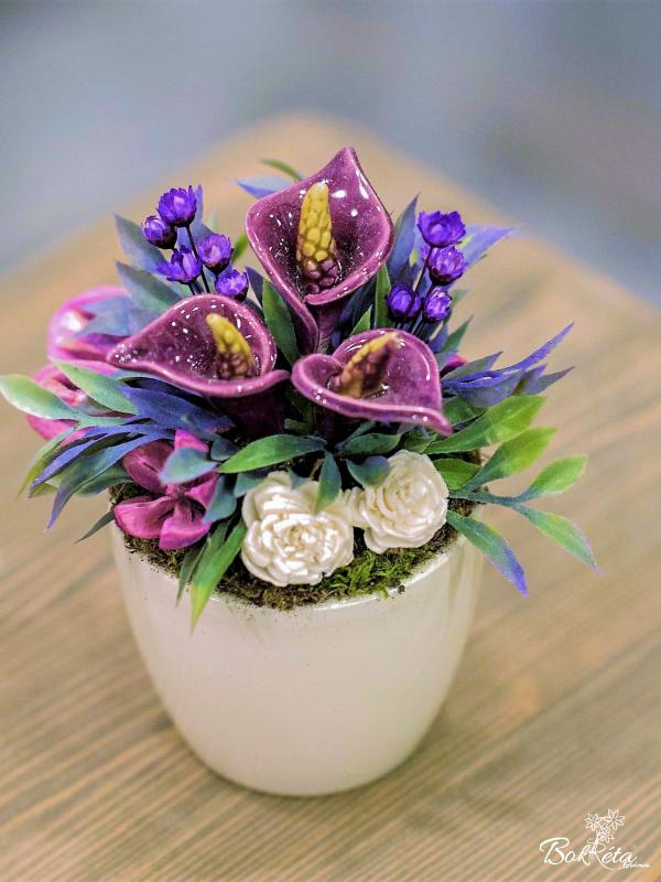 Ceramic flower: Mini Centerpiece - Purple Calla