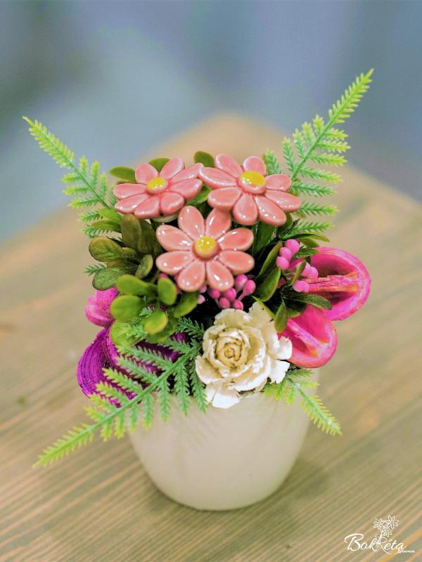 Keramikblume: Mini Centerpiece - Pink Little Daisy