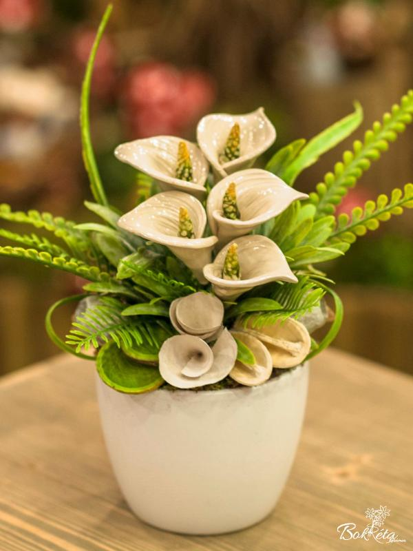 Ceramic flower: Large Centerpiece - White Calla