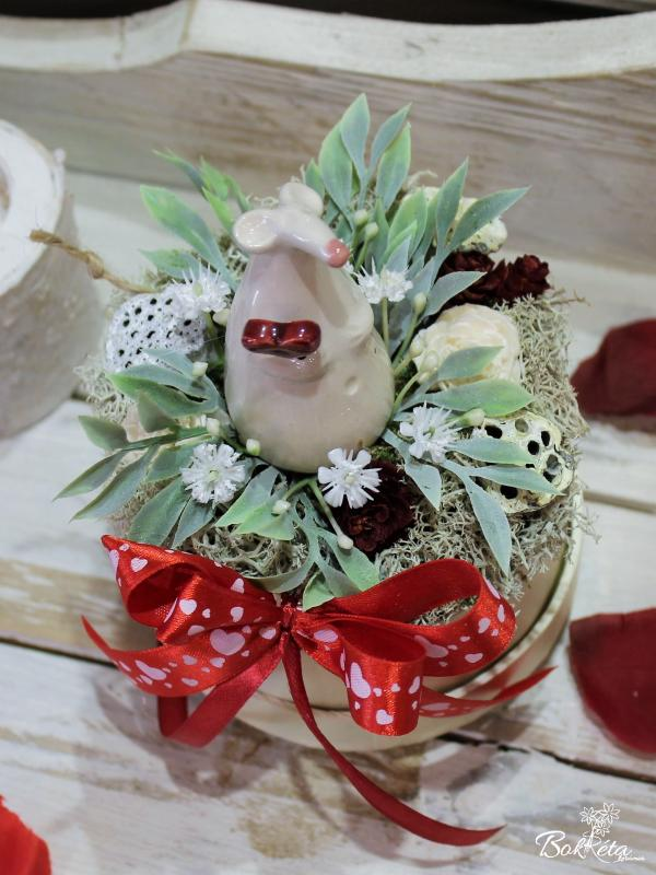 Keramikblume: Mini Flower Box - White Mouse