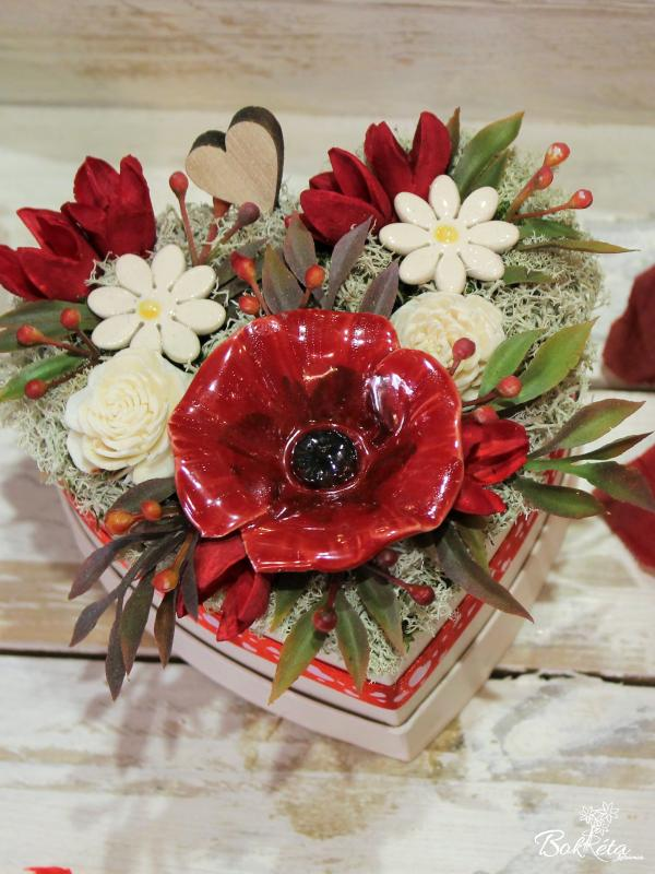 Keramikblume: Mini Flower Box Heart - Poppy