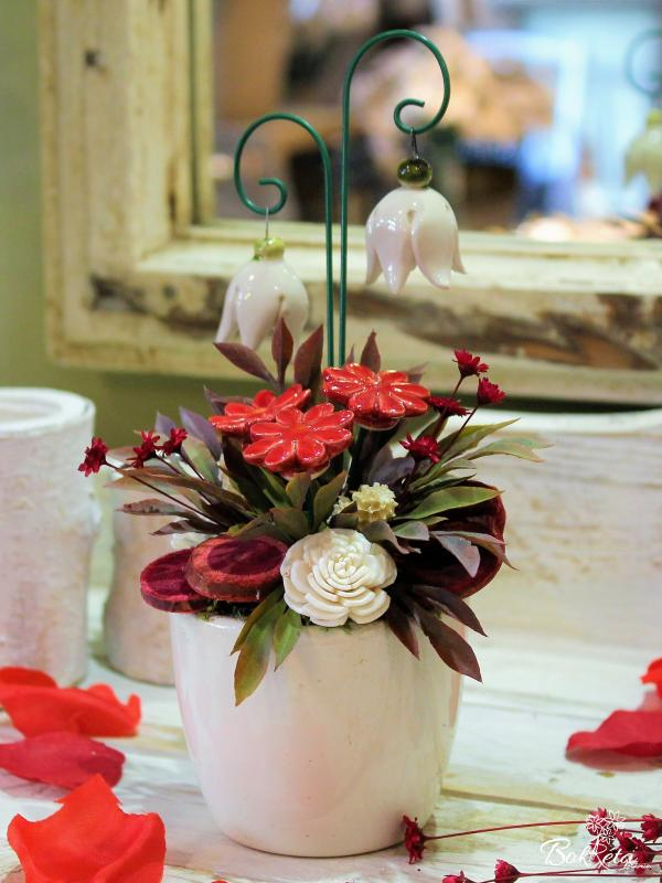 Ceramic flower: Mini Centerpiece - White Heather