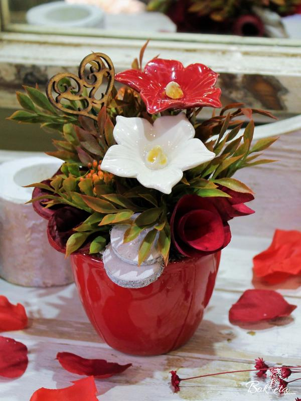 Ceramic flower: Mini Centerpiece - Red-white Mallow