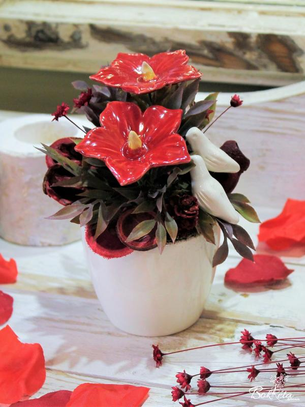Ceramic flower: Mini Centerpiece - Mallow and Pigeon