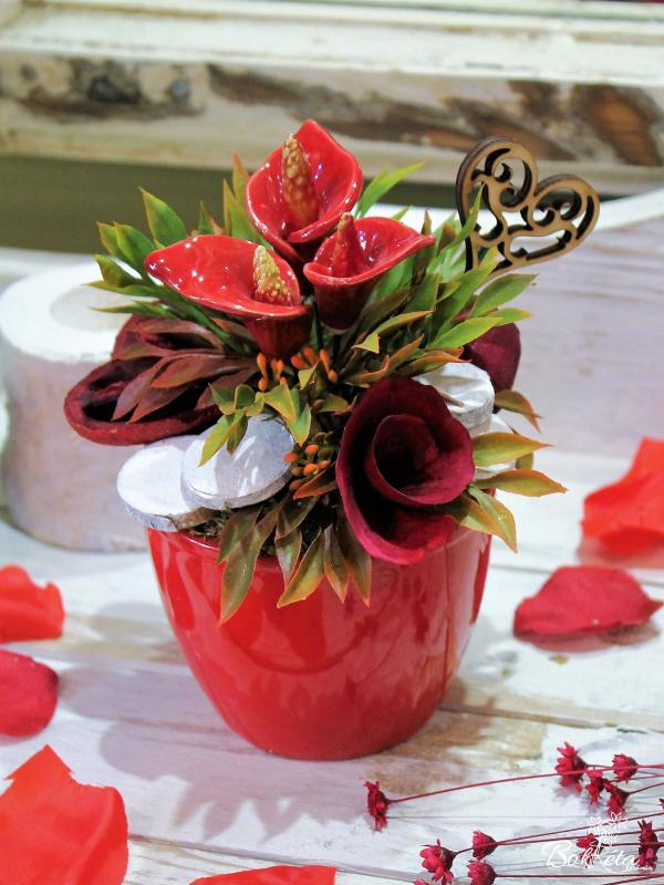 Ceramic flower: Mini Centerpiece - Red Calla