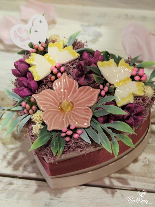 Keramikblume: Mini Flower Box Heart - Mallow and Butterfly