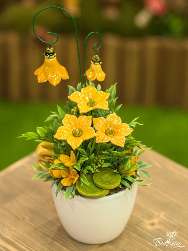 Ceramic flower: Large Centerpiece - Yellow Mallow 2
