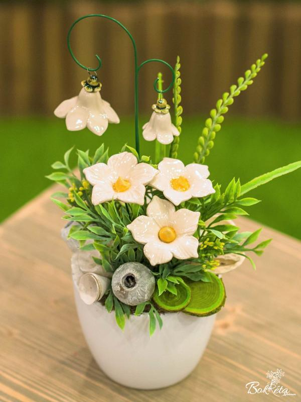 Ceramic flower: Large Centerpiece - White Mallow