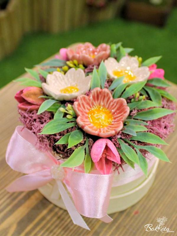 Ceramic flower: Mini Flower Box - Wild Rose