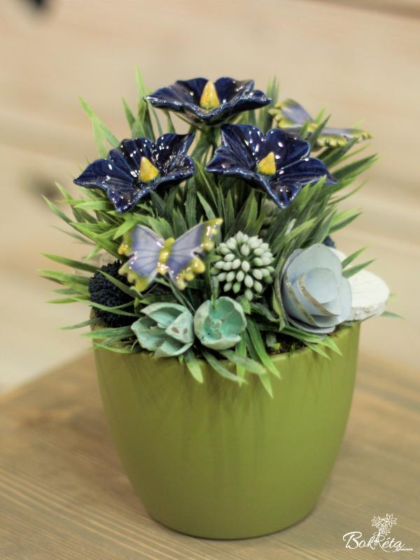 Ceramic flower: Large Centerpiece - Blue Mallow and Butterfly