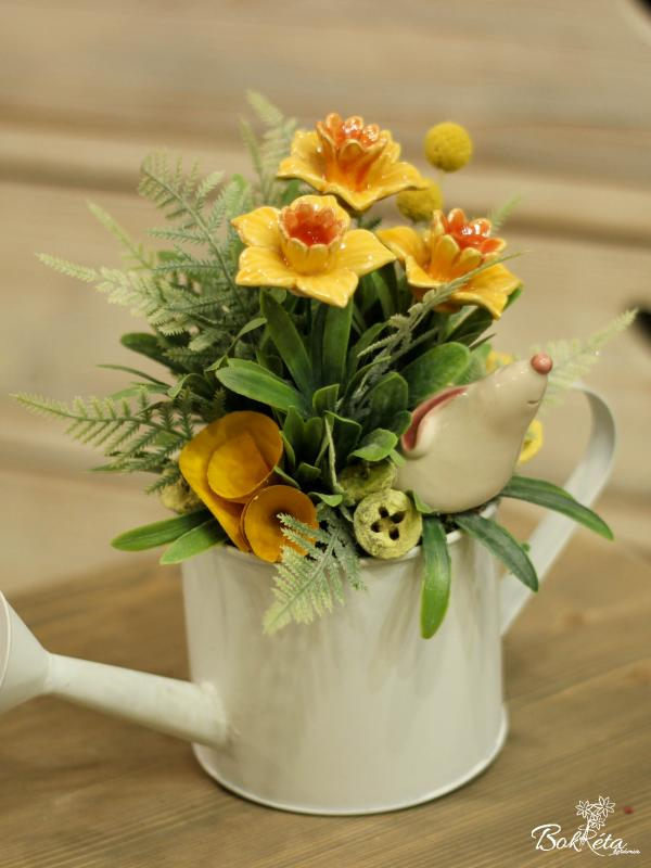Ceramic flower: Special Centerpiece - Daffodil and Bunny