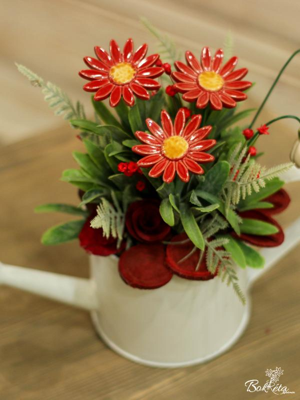 Ceramic flower: Special Centerpiece - Red Meadow Daisy