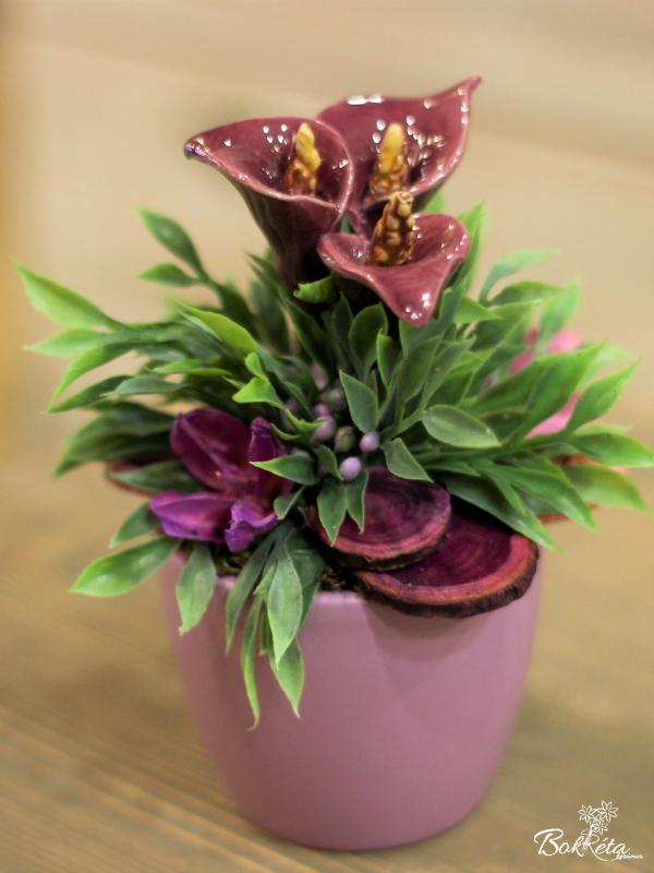 Ceramic flower: Mini Centerpiece - Purple Calla 2