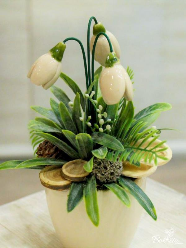 Ceramic flower: Mini Centerpiece - Snowdrops 2
