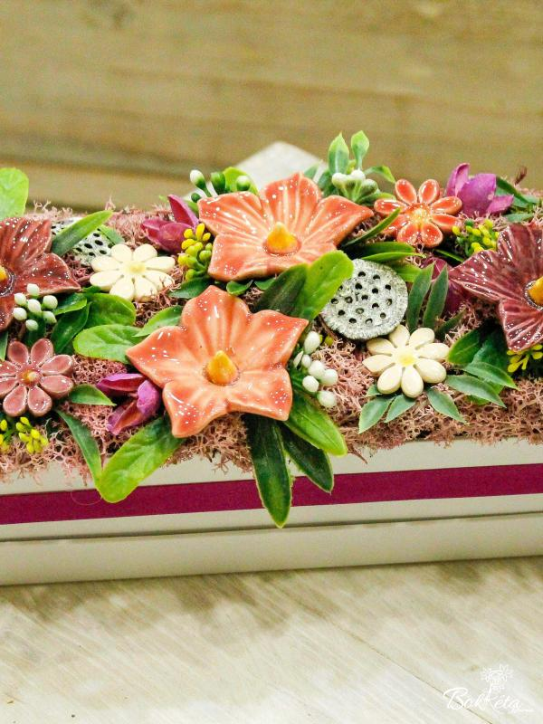 Ceramic flower: Long Flower Box - Mallow and Daisy