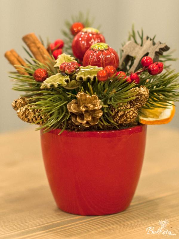 Ceramic flower: Little Christmas Centerpiece - Red Berry