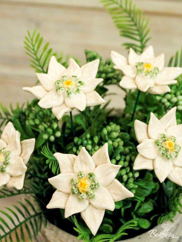 Ceramic flower: Edelweiss