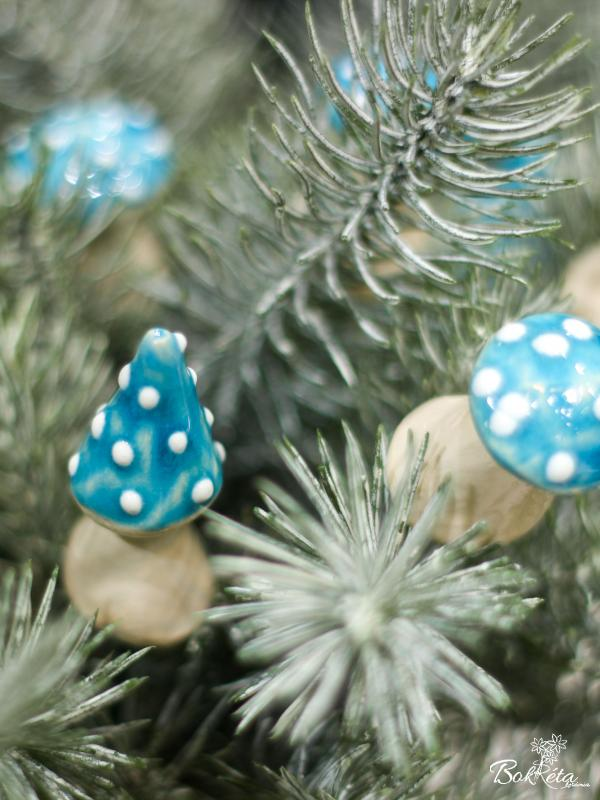 Ceramic flower: Little mushroom - Turquoise selection