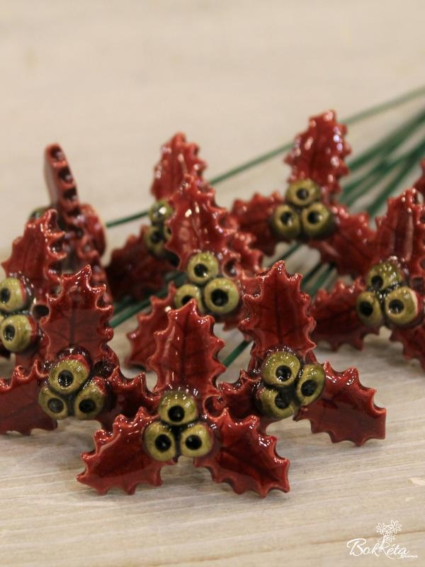 Ceramic flower: Little Holly Special Offer 10pcs