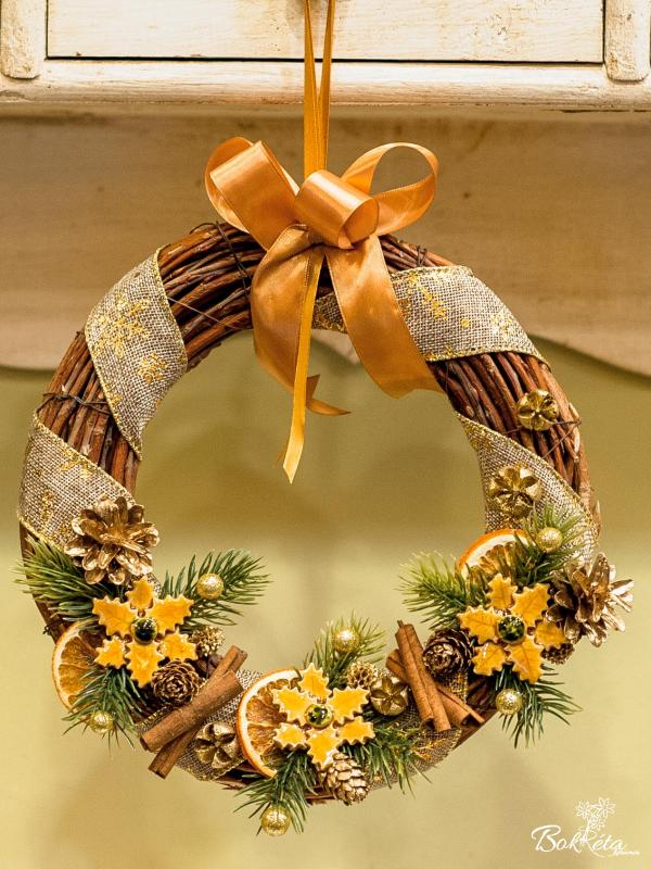 Ceramic flower: Middle Christmas Door Wreath - Yellow Christmas Flower