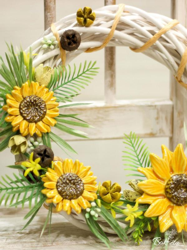 Ceramic flower: Large Door Wreath  - Sunflower
