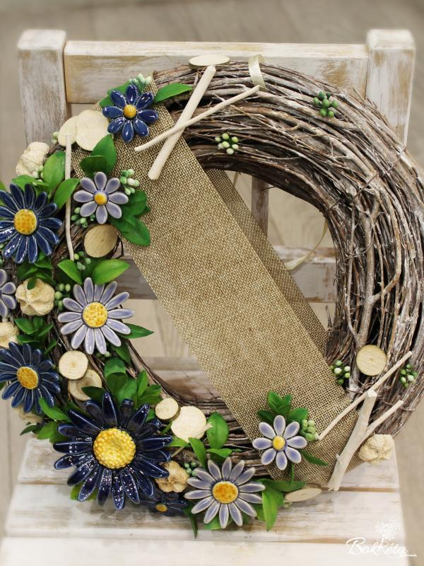 Ceramic flower: Special Door Wreath - Blue Daisy