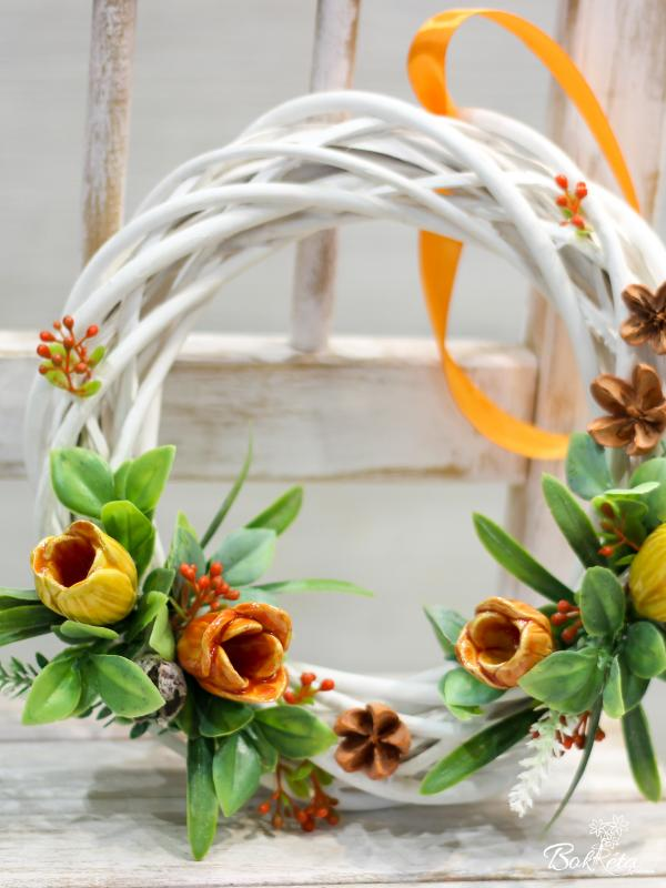 Ceramic flower: Large Door Wreath - Yellow Crocus