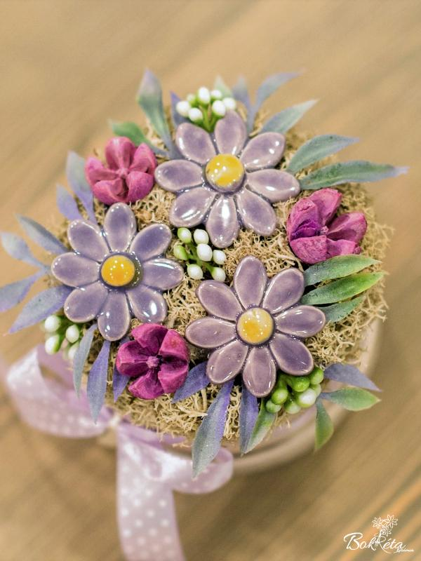 Ceramic flower: Mini Flower Box - Purple Daisy