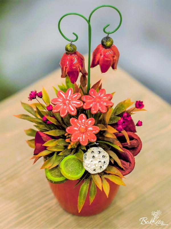 Ceramic flower: Mini Centerpiece - Red Heather