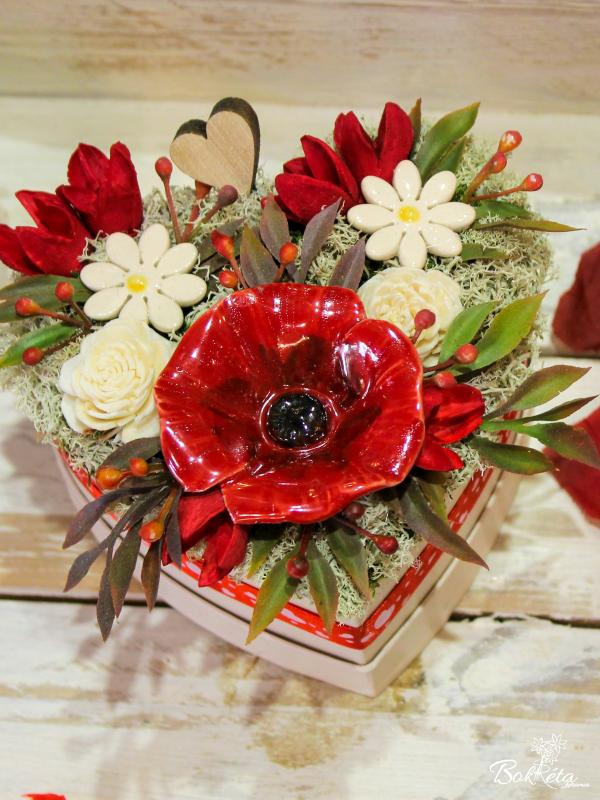 Ceramic flower: Mini Flower Box Heart - Poppy