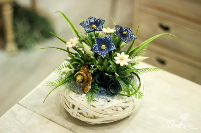 Ceramic flower: Little Basket - Mallow and snail