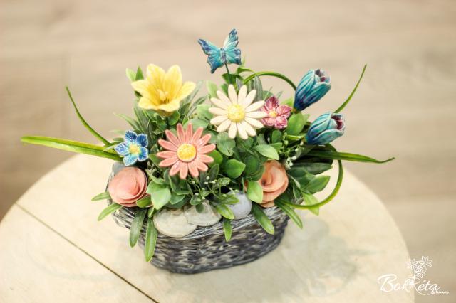 Kerámia virág: Kicsi Hosszú Kosár - Vidám mező
