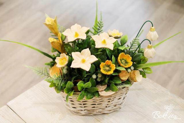 Kerámia virág: Kicsi Hosszú Kosár - Fehér-sárga Virágok