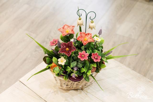 Kerámia virág: Kicsi Hosszú Kosár -  Rózsaszín Mályva