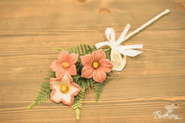 Ceramic flower: Mini Bouquet - Pink Mallow