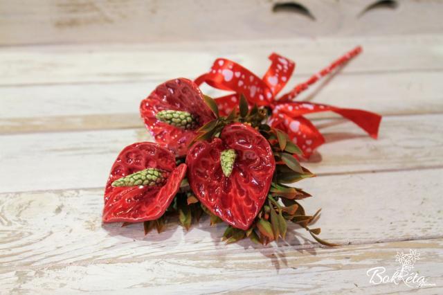 Ceramic flower: Mini Bouquet - Red Flamingo Flower