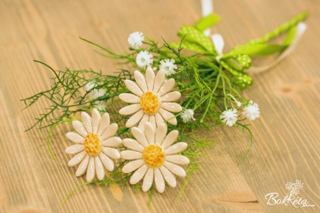 Ceramic flower: Mini Bouquet - White Daisy