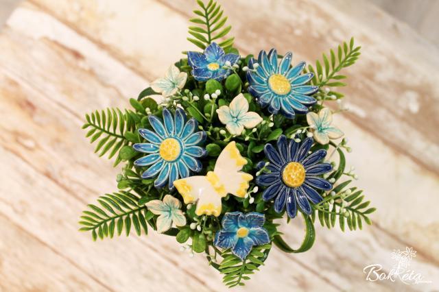 Kerámia virág: Tölcséres Kicsi Csokor - Türkiz Margaréta