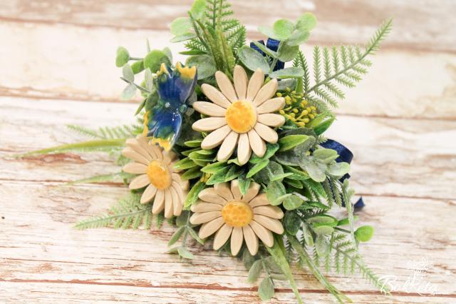 Kerámia virág: Tölcséres Kicsi Csokor - Fehér Margaréta