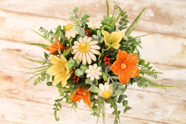 Kerámia virág: Tölcséres Közepes Csokor - Sárga-fehér virágok