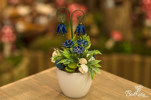 Ceramic flower: Mini Centerpiece - Blue Heather
