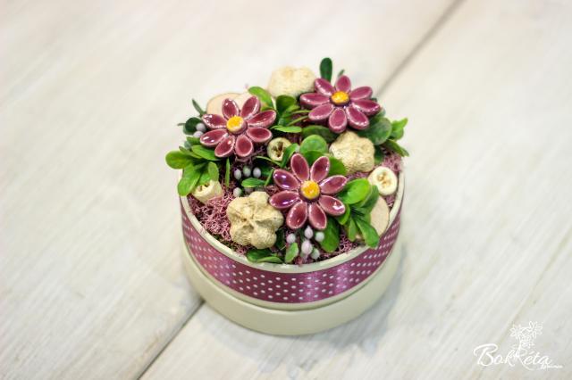 Ceramic flower: Mini Flower Box - Purple Daisy